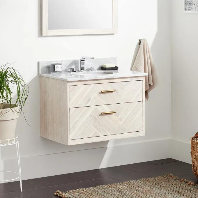 """30"""" Frey Vanity Top With 8"""" Widespread Faucet Holes - Vanity for Undermount Sink - Whitewash"""