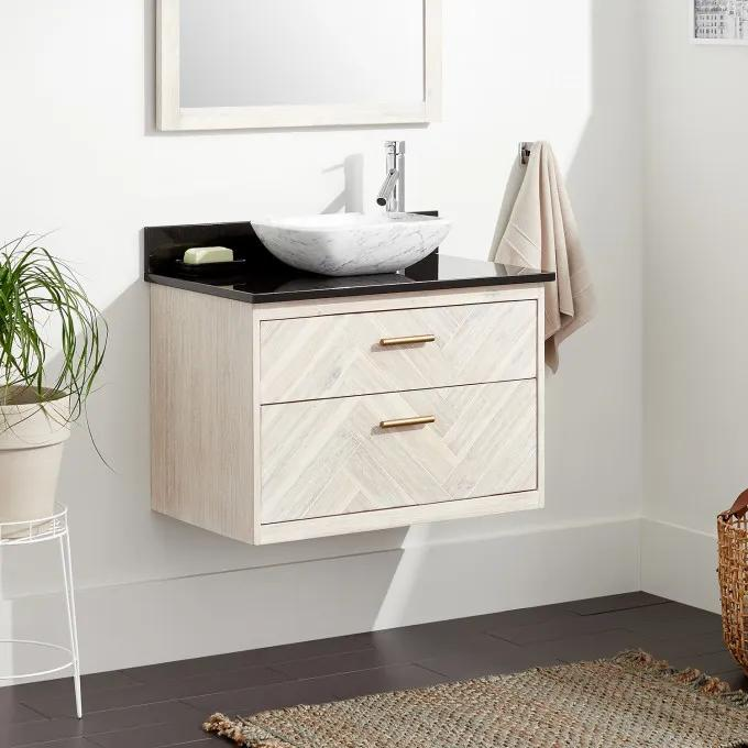 """30"""" Frey Vanity Top With Right Faucet Hole Configuration - Vanity for Vessel Sink - Whitewash"""