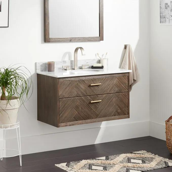 """36"""" Frey Vanity Top With 8"""" Widespread Faucet Holes - Vanity for Undermount Sink - Gray Wash"""