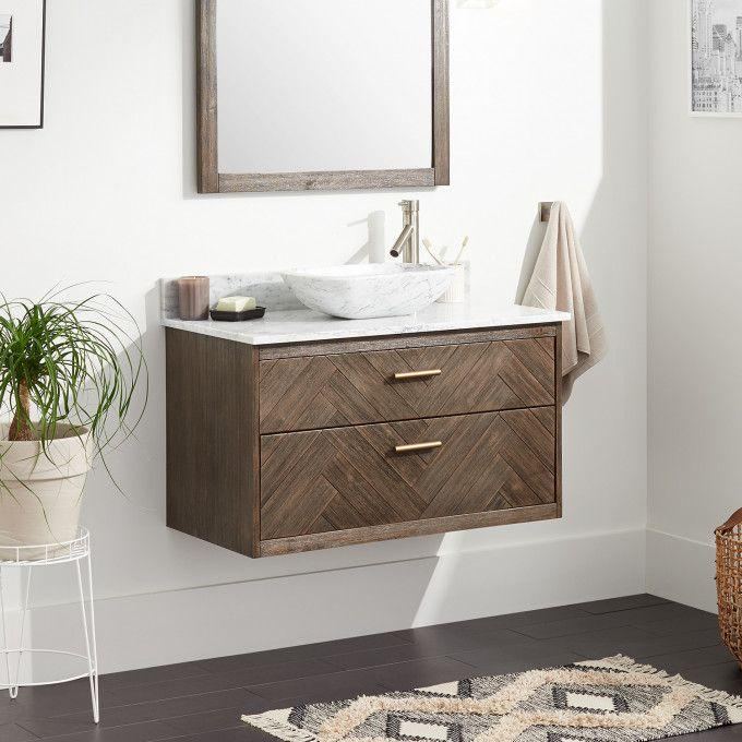 """36"""" Frey Vanity Top With Right Faucet Hole Configuration - Vanity for Vessel Sink - Gray Wash"""