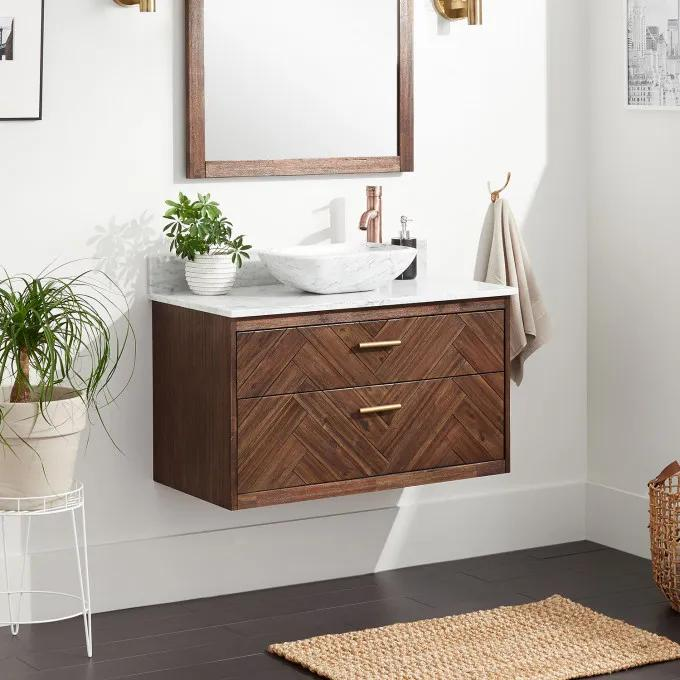 "36"" Frey Vanity Top With Right Faucet Hole Configuration - Vanity for Vessel Sink - Russet Brown"