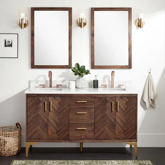 "60"" Frey Freestanding Vanity for Rectangular Undermount Sink - Russet Brown"