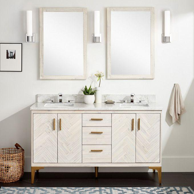 "60"" Frey Freestanding Vanity for Rectangular Undermount Sink - Whitewash"