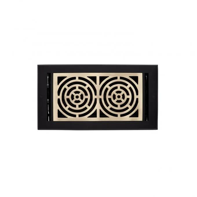 Burrel Two Tone Brass Wall Register - Matte Black and Antique Brass
