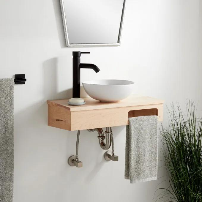 "24""x12""-Wood Wallmount Vanity-Metal Hanging Bracket - Light Maple - Left Faucet"