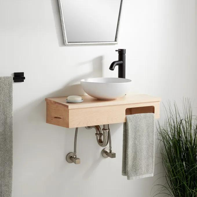 "24""x12""-Wood Wallmount Vanity-Metal Hanging Bracket - Light Maple - Right Faucet"