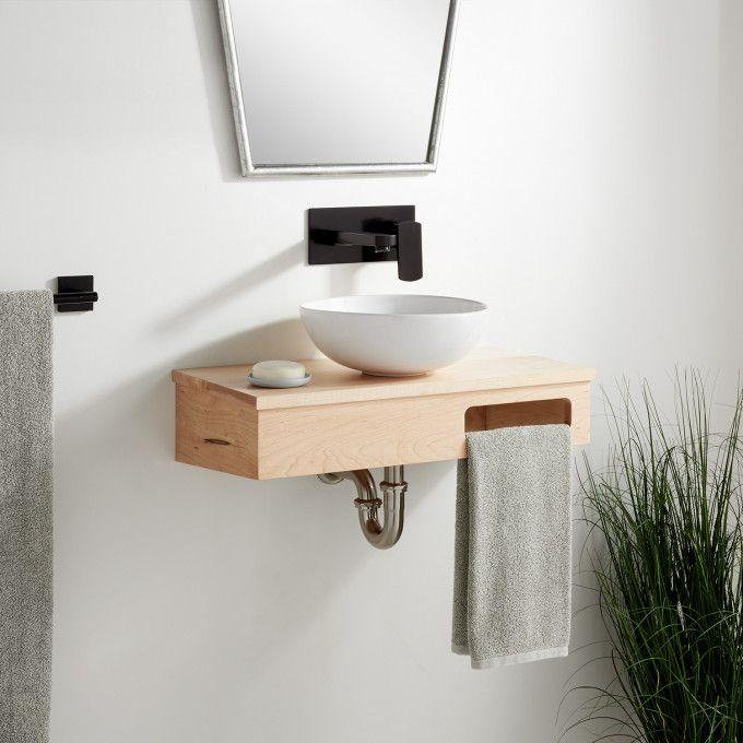 "24""x12""-Wood Wallmount Vanity-Metal Hanging Bracket - Light Maple - No Faucet Drillings"