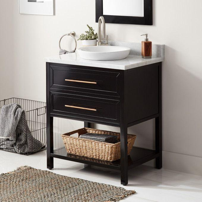 "30"" Robertson Console Vanity for Semi-Recessed Sink - Black - Left Offset"