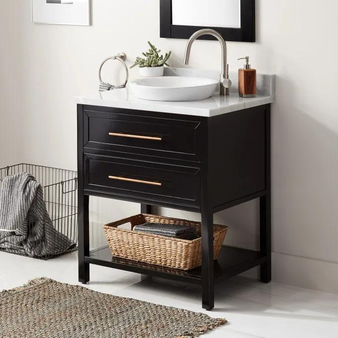 "30"" Robertson Console Vanity for Semi-Recessed Sink - Black - Right Offset"