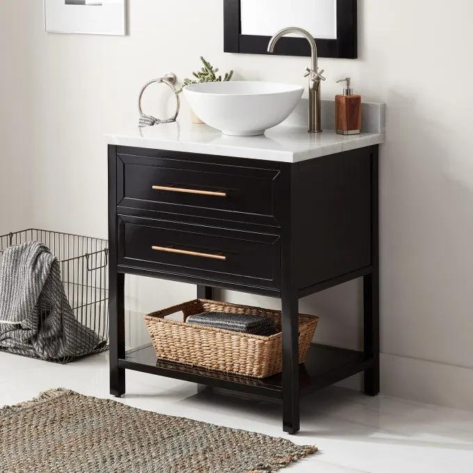 """30"""" Robertson Console Vanity for Vessel Sink - Black - Right Offset"""