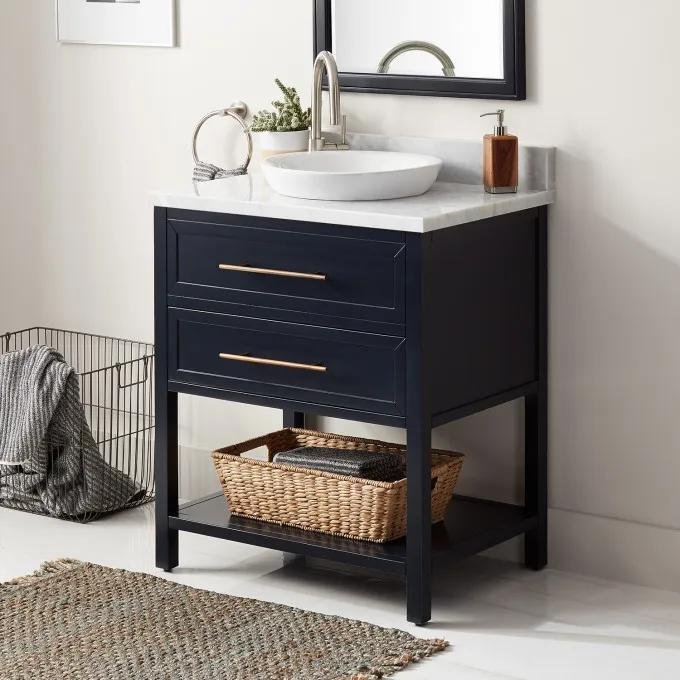 "30"" Robertson Console Vanity for Semi-Recessed Sink - Midnight Navy Blue - Left Offset"