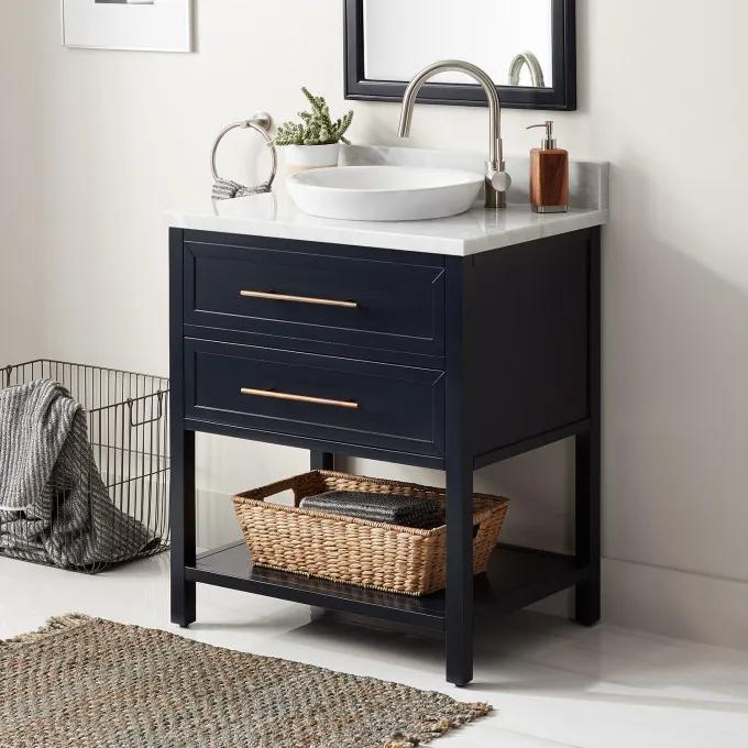 "30"" Robertson Console Vanity for Semi-Recessed Sink - Midnight Navy Blue - Right Offset"