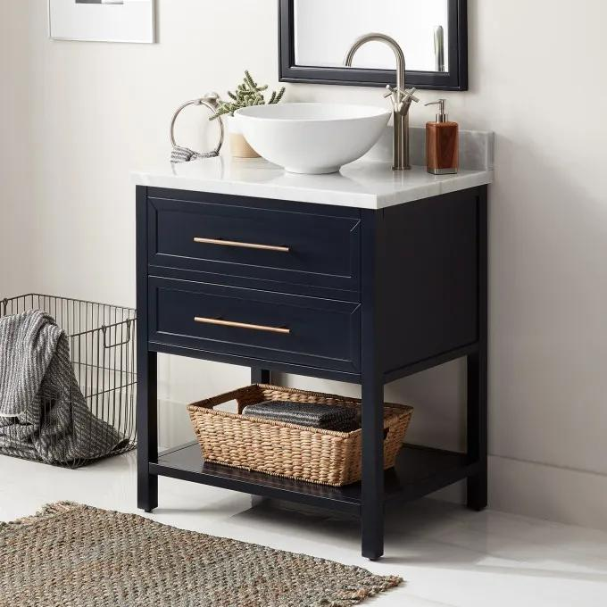 """30"""" Robertson Console Vanity for Vessel Sink - Midnight Navy Blue - Right Offset"""