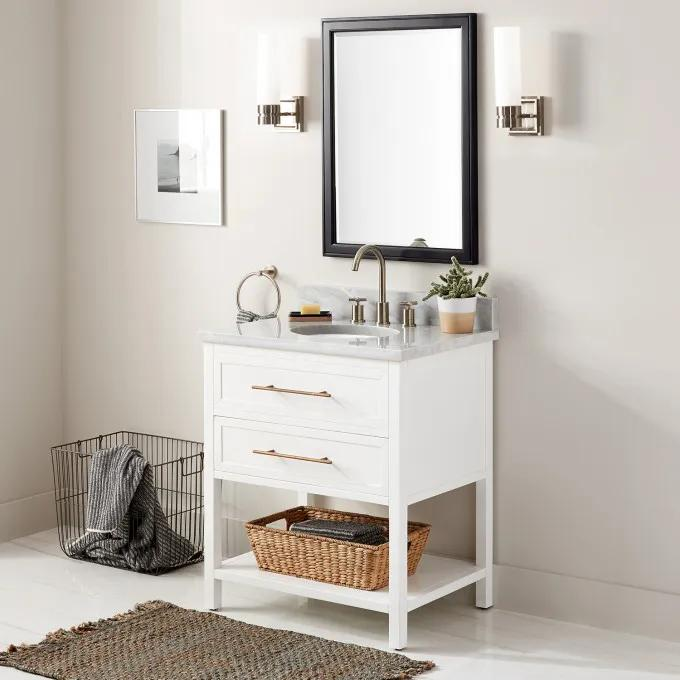 """30"""" Robertson Console Vanity for Undermount Sink - White - Widespread"""