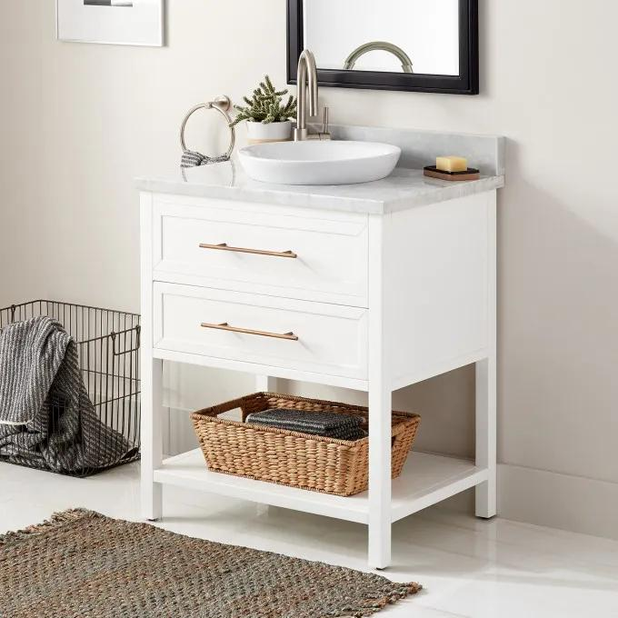 "30"" Robertson Console Vanity for Semi-Recessed Sink - White - Left Offset"