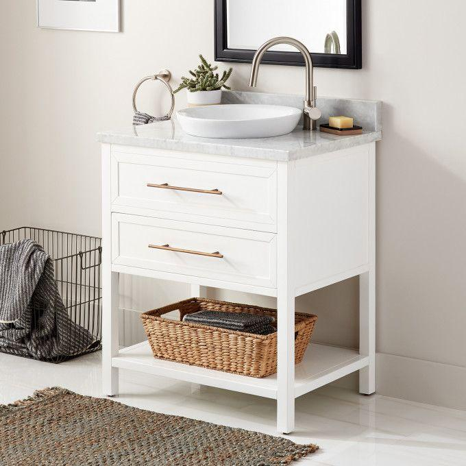 "30"" Robertson Console Vanity for Semi-Recessed Sink - White - Right Offset"
