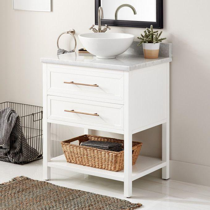 """30"""" Robertson Console Vanity for Vessel Sink - White - Left Offset"""