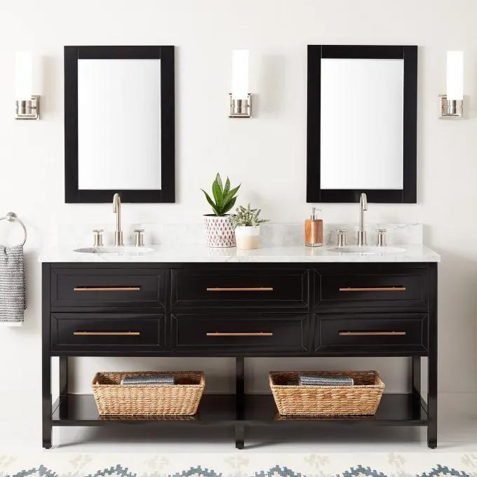 """72"""" Robertson Double Console Vanity for Undermount Sinks - Black - Widespread"""