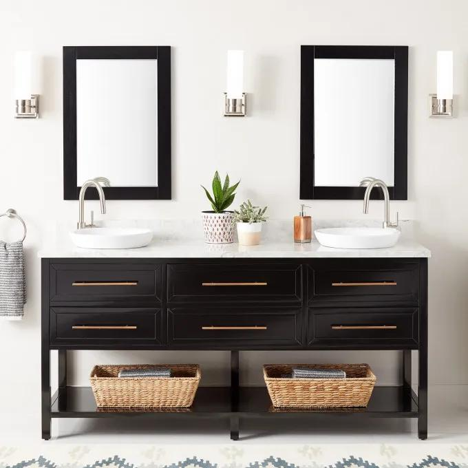 """72"""" Robertson Double Console Vanity for Semi-Recessed Sinks - Black"""