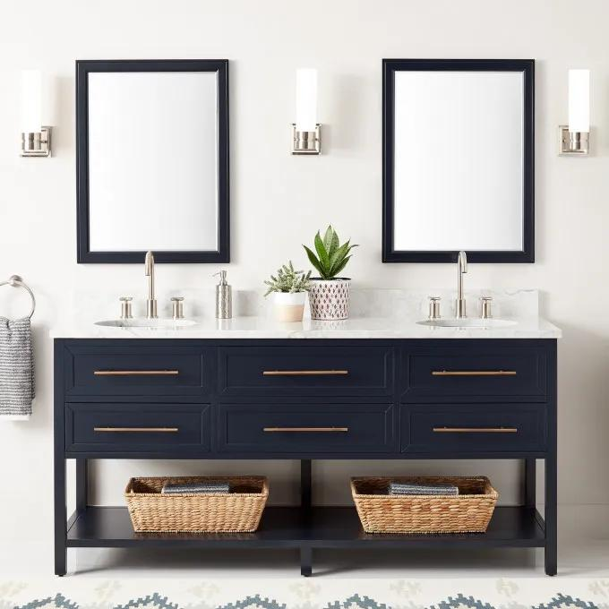"""72"""" Robertson Double Console Vanity for Undermount Sinks - Midnight Navy Blue - Widespread"""