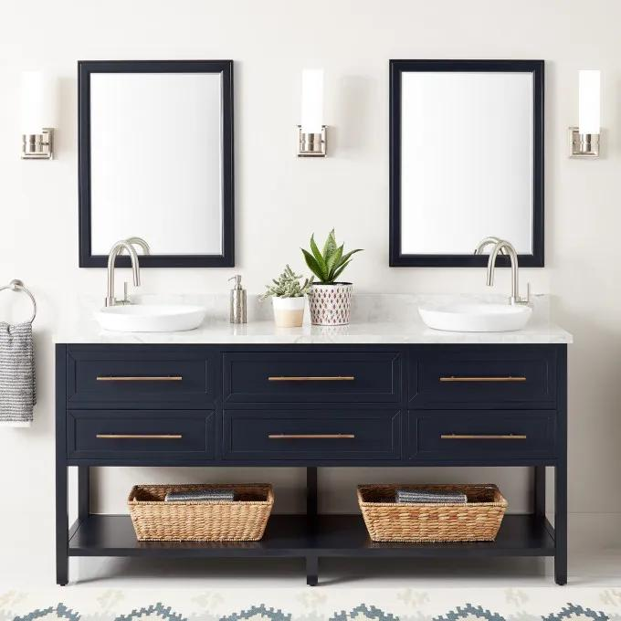 """72"""" Robertson Double Console Vanity for Semi-Recessed Sinks - Midnight Navy Blue"""