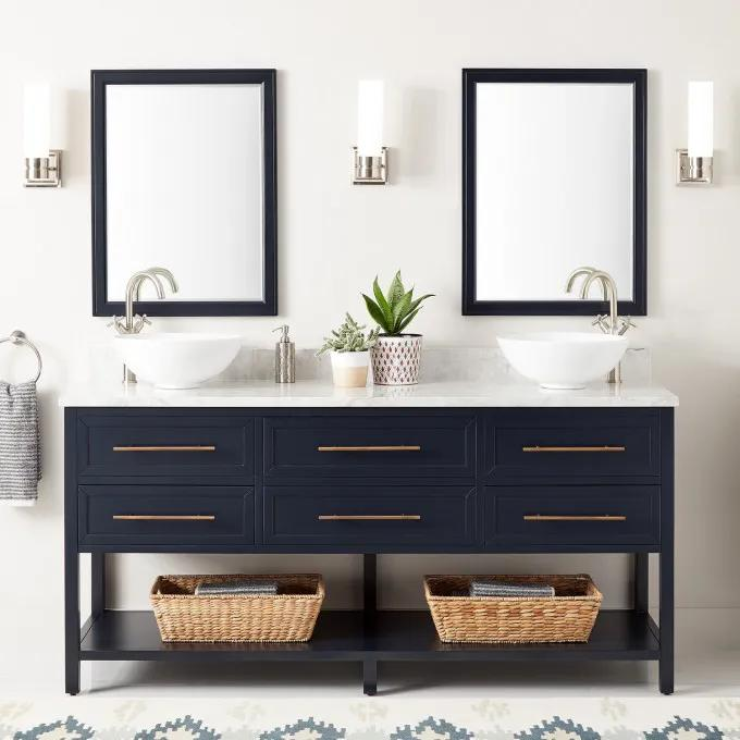 "72"" Robertson Vessel Sink Console Vanity - Midnight Navy Blue"