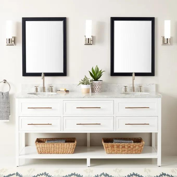 """72"""" Robertson Double Console Vanity for Undermount Sinks - White - Widespread"""