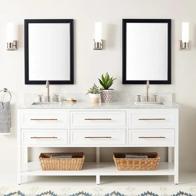 """72"""" Robertson Double Console Vanity for Rectangular Undermount Sinks - White - Widespread"""