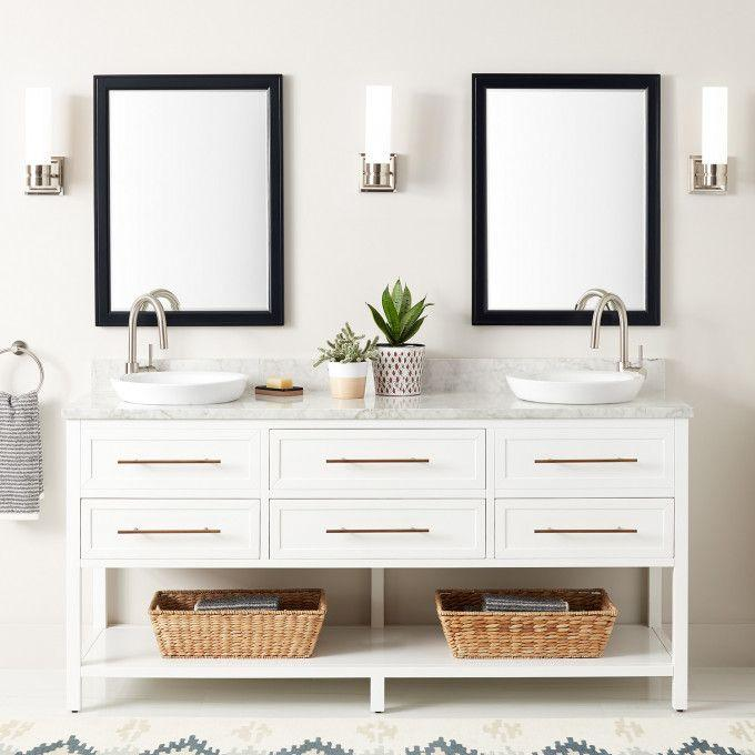 """72"""" Robertson Double Console Vanity for Semi-Recessed Sinks - White"""
