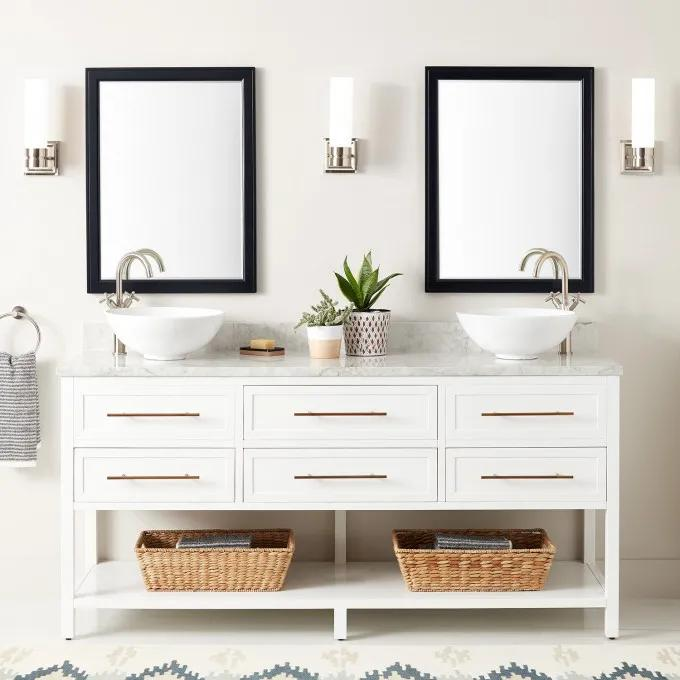 "72"" Robertson Vessel Sink Console Vanity - White"