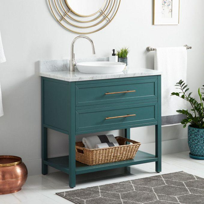 """36"""" Robertson Mahogany Console Vanity for Semi-Recessed Sink - Everglade Green"""