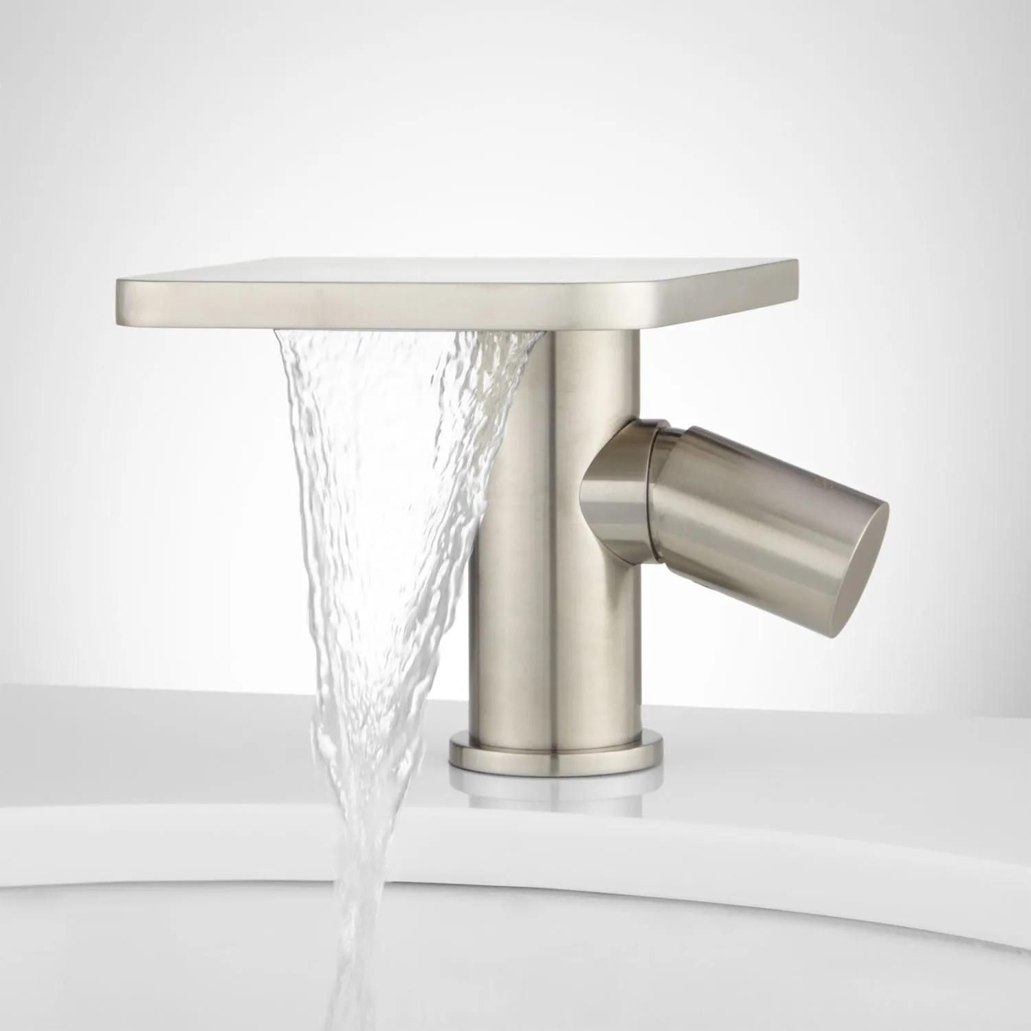 Knox Single Hole Waterfall Bathroom Faucet With Pop Up Drain Bathroom