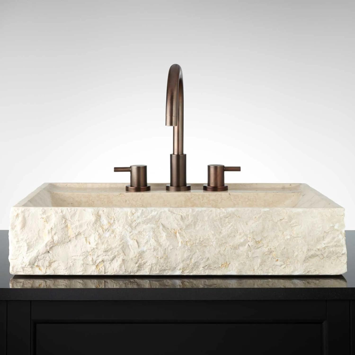 Hathor Egyptian Yellow Marble Rectangular Vessel Sink Chiseled Front Bathroom