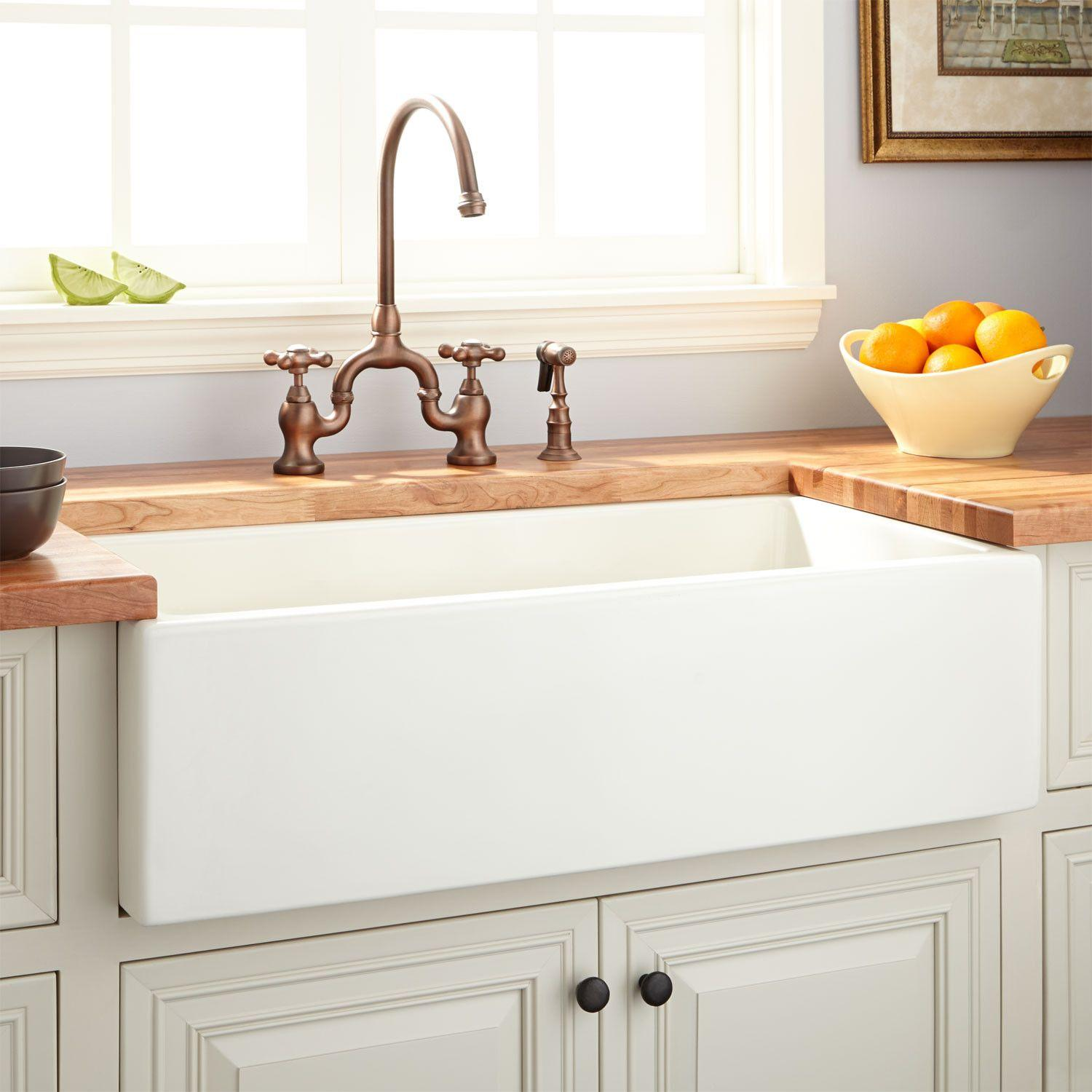 36 mitzy fireclay reversible farmhouse sink smooth apron biscuit