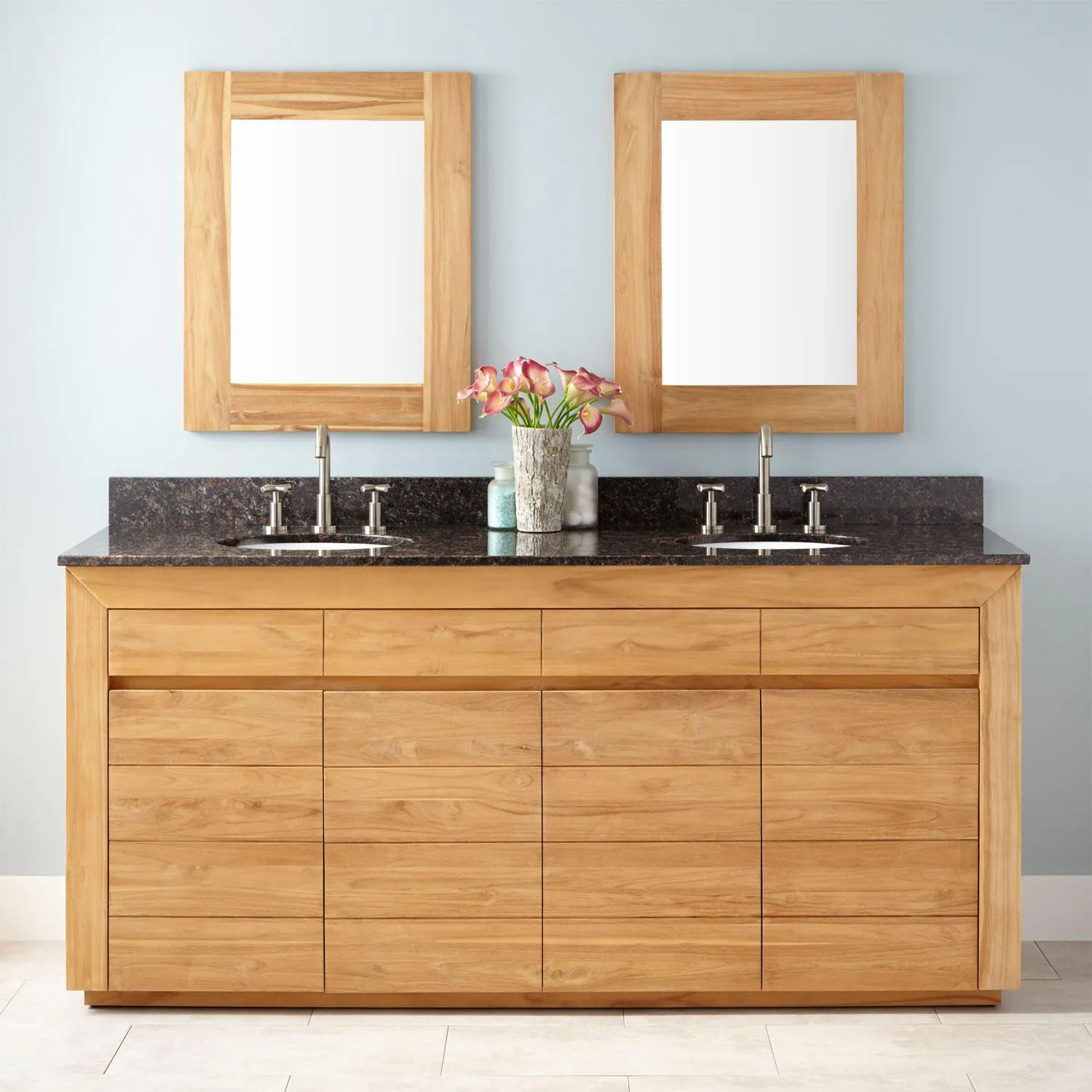 72 Bastian Teak Double Vanity For Undermount Sinks Natural Teak Double Sink Vanities Bathroom Vanities Bathroom