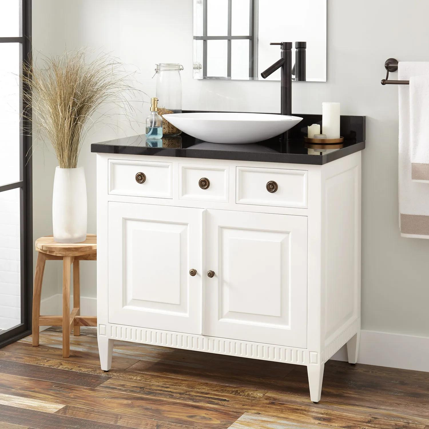 36 Hawkins Mahogany Vessel Sink Vanity White Bathroom