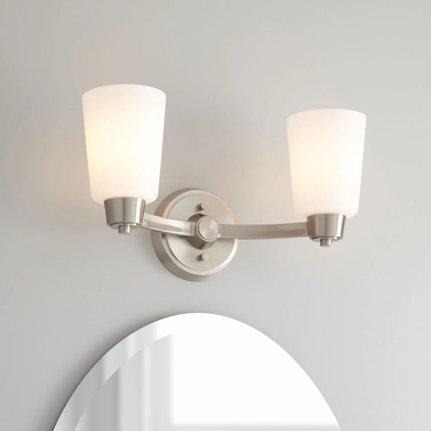 Windsor Gate 2 Light Vanity Light Frosted Glass Bathroom Vanity Lighting Lighting