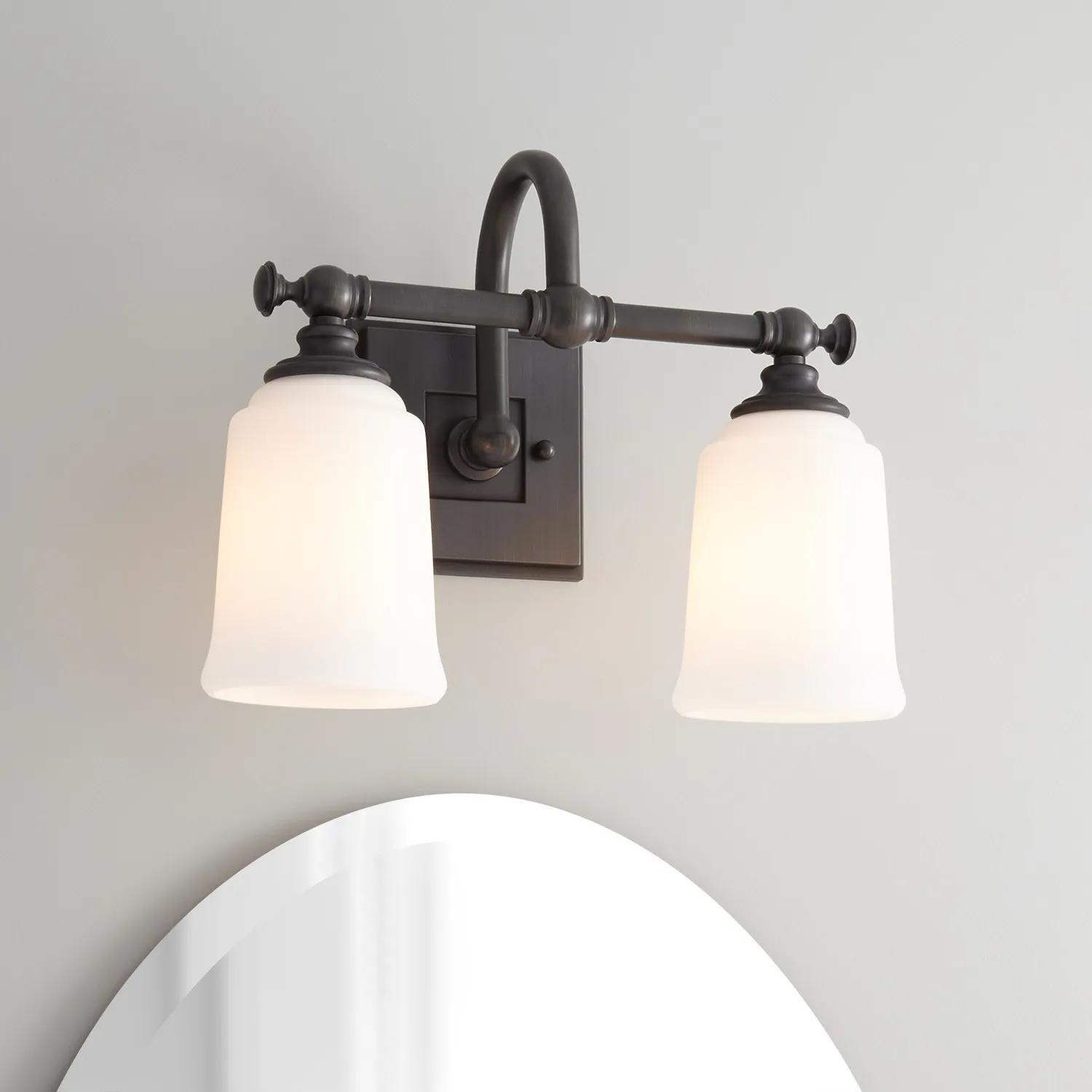 Antonio 2 Light Vanity Light Frosted Glass Bathroom Vanity Lighting Lighting