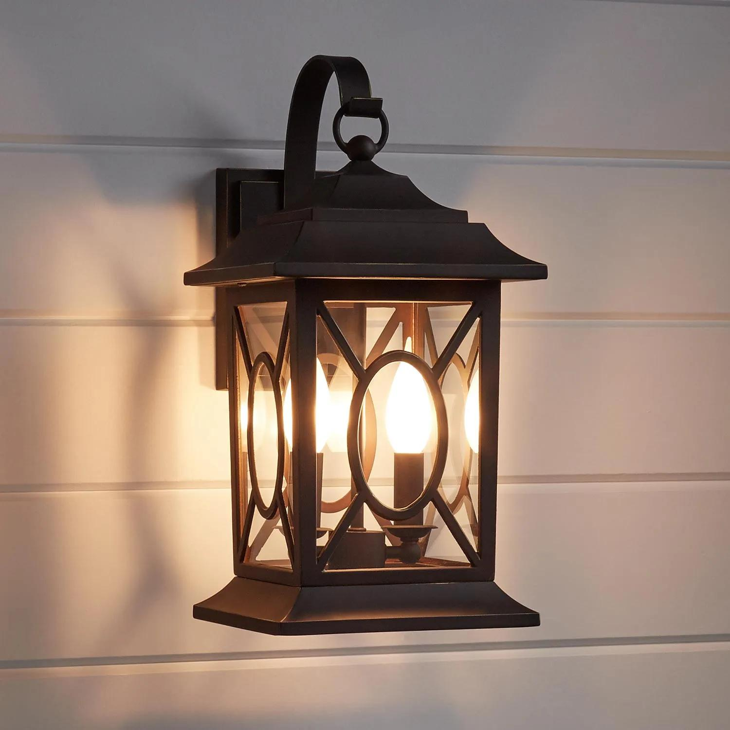 Kingston Manor Dark Bronze Outdoor 2 Light Candelabra Wall Sconce Outdoor Lighting Lighting