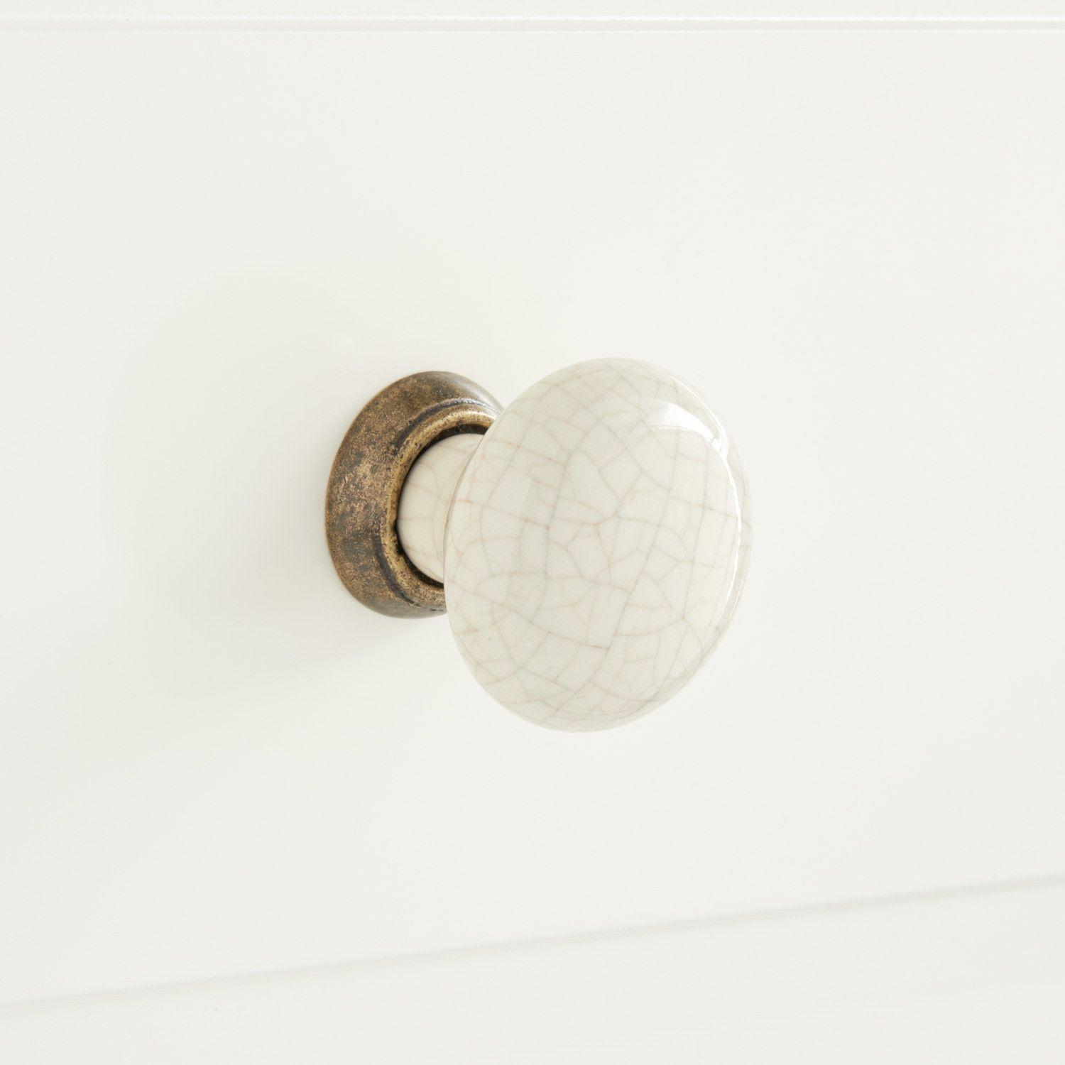 Crackle Finish Porcelain Cabinet Knobs with Silver//Gold Accents