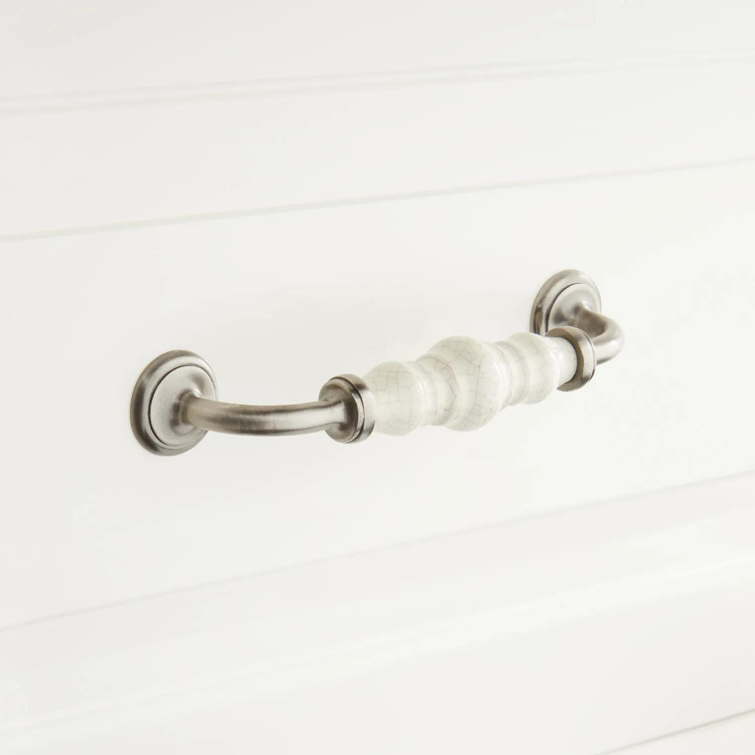 Broward Crackled Ceramic Cabinet Pull Hardware
