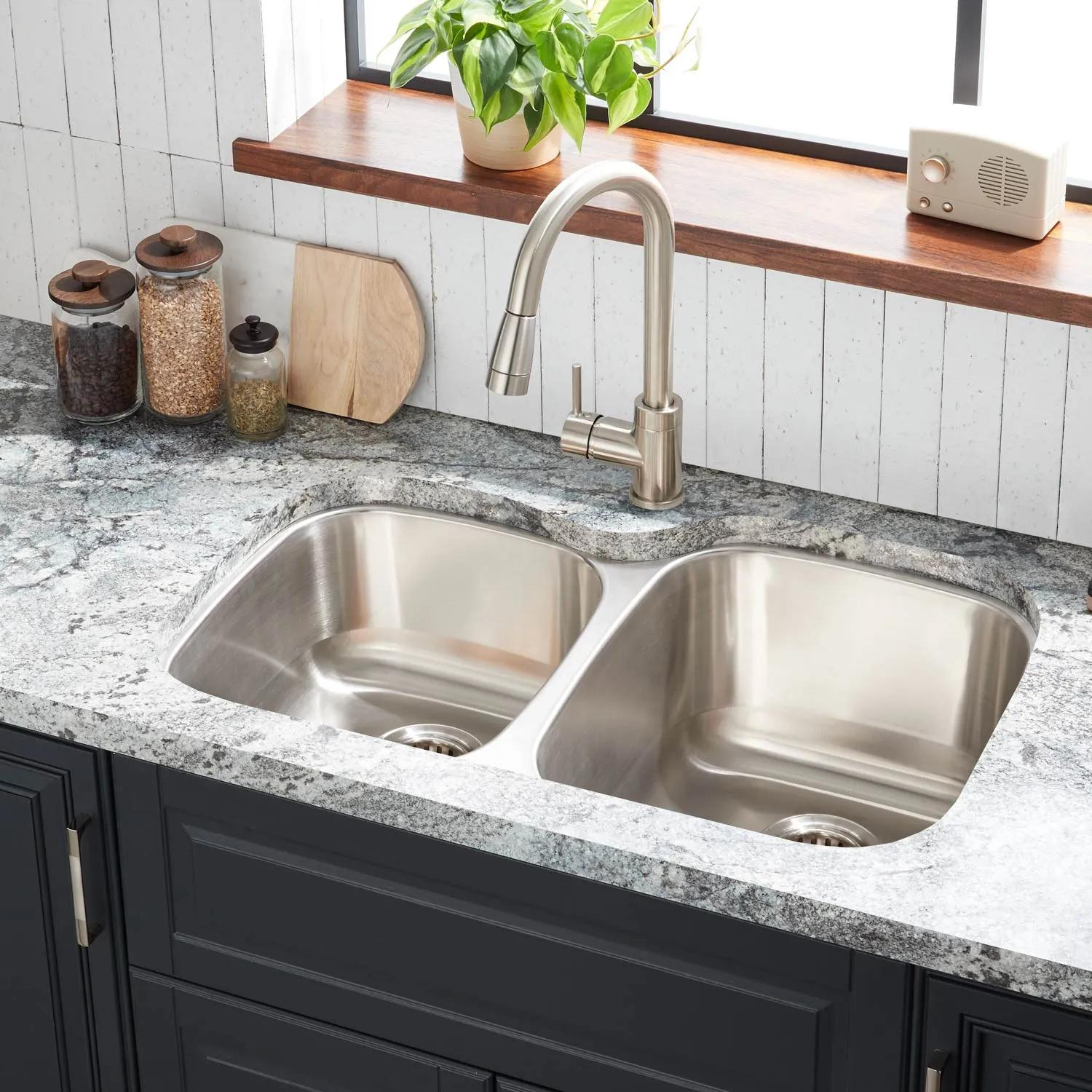 32 Calverton Offset Double Bowl Stainless Steel Undermount Sink Large Bowl Right Kitchen