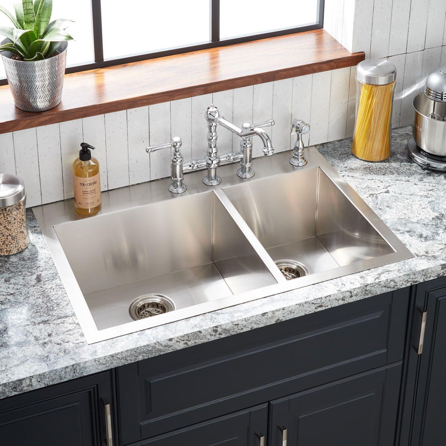 33 Sitka Offset Double Bowl Stainless Steel Drop In Sink 4 Hole Kitchen