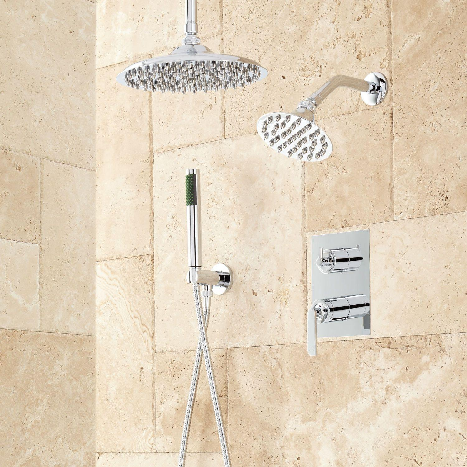 Trimble Dual Shower Head Shower System With Hand Shower Bathroom