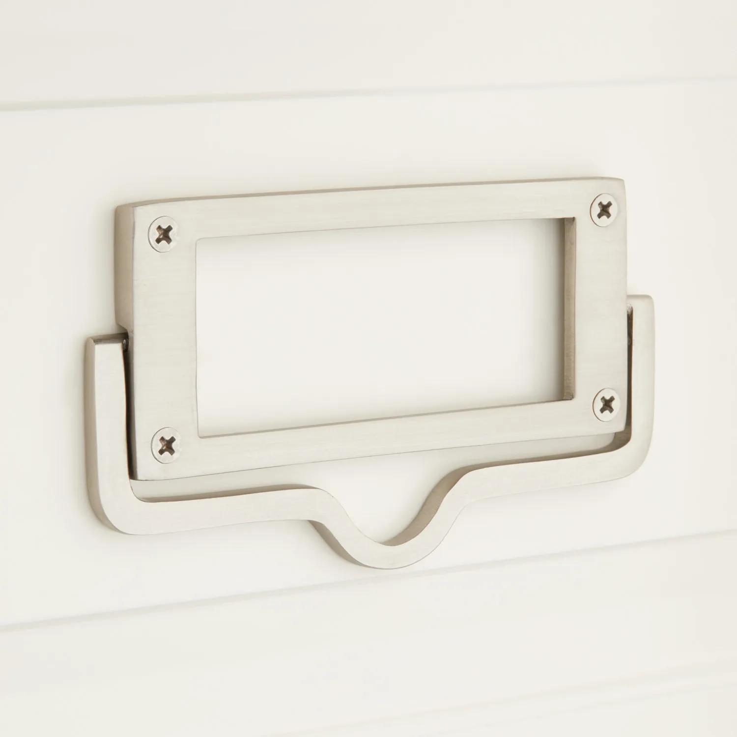 Rectangular Brass Drawer Pull With Label Holder Hardware