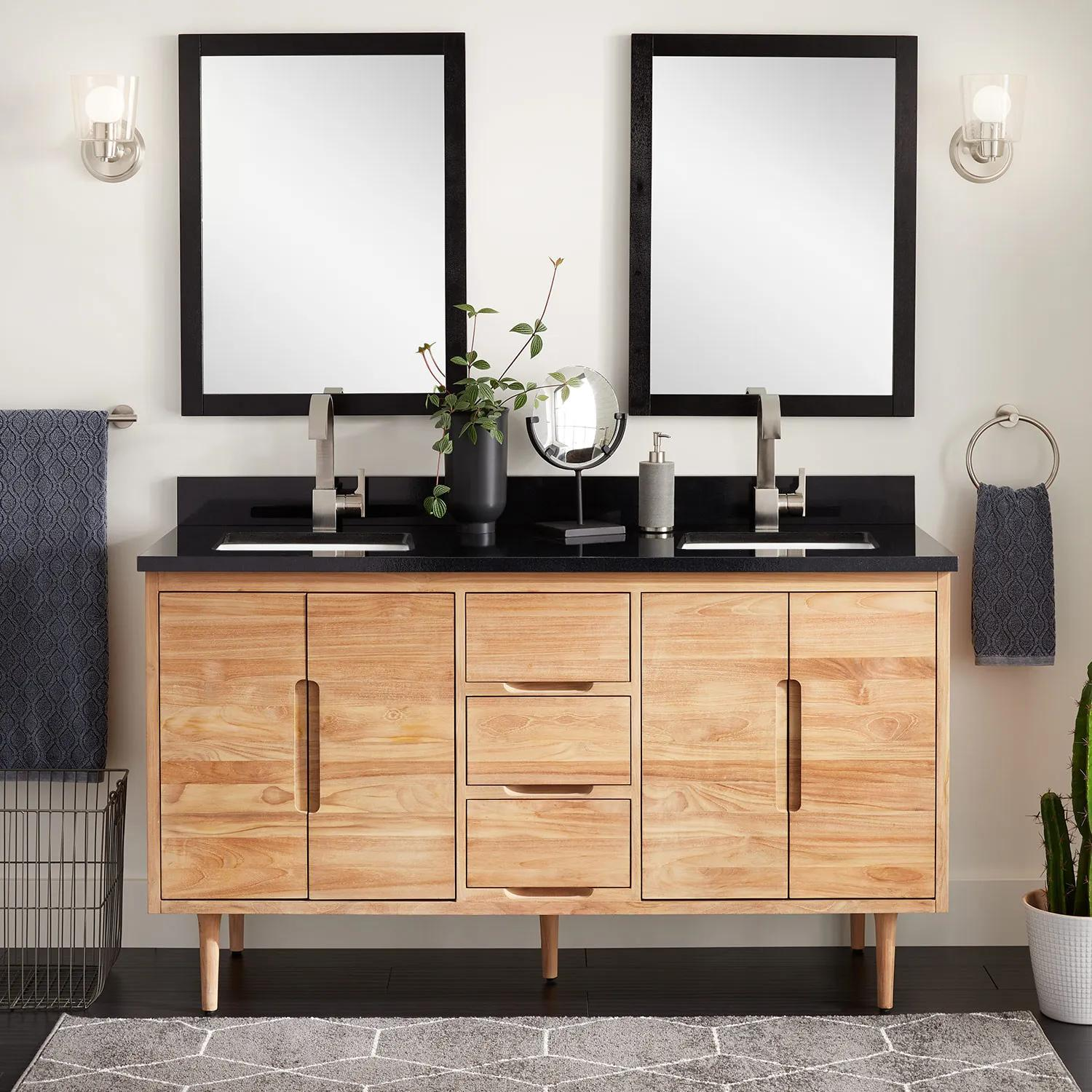60 Bivins Teak Double Bathroom Vanity For Rectangular Undermount Sinks Natural Teak Bathroom