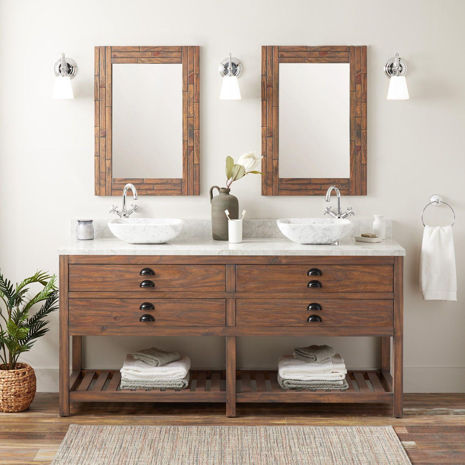 72 Ansel Double Vessel Sinks Console Vanity Farmhouse Brown