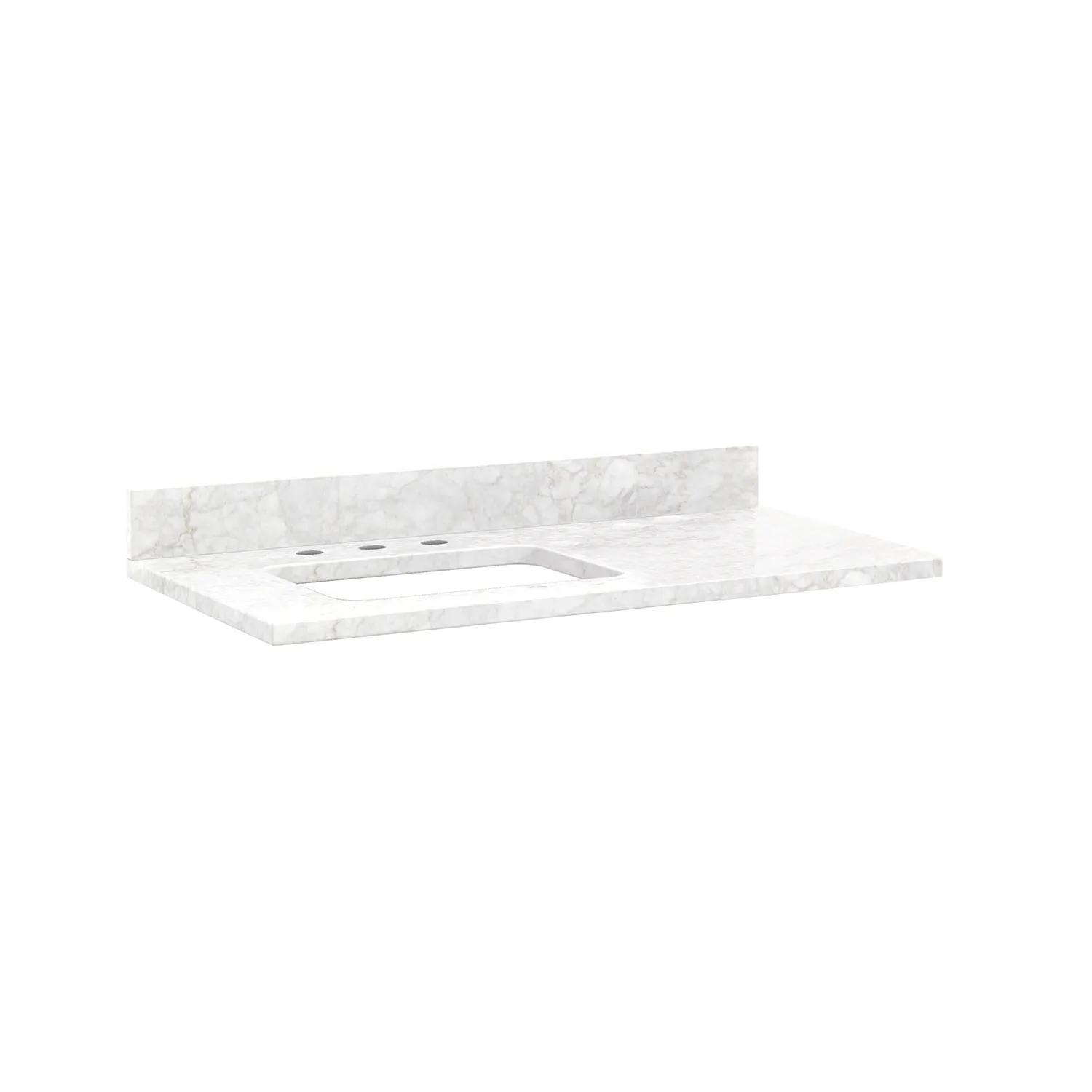 43 X 22 3cm Marble Vanity Top For Left Offset Rectangular Undermount Sink White Carrara 8 Faucet Holes W Sink Bathroom