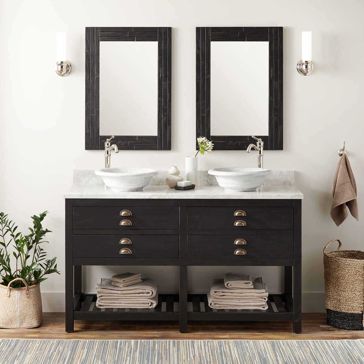 60 Ansel Double Vessel Sinks Console Vanity Rustic Black Bathroom Vanities Bathroom
