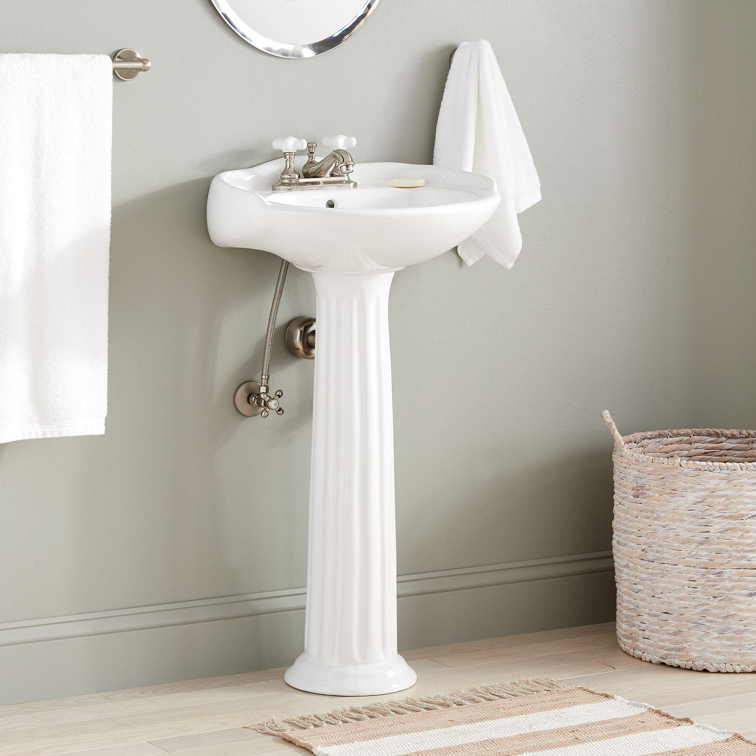 Victorian Porcelain Mini Pedestal Sink Bathroom